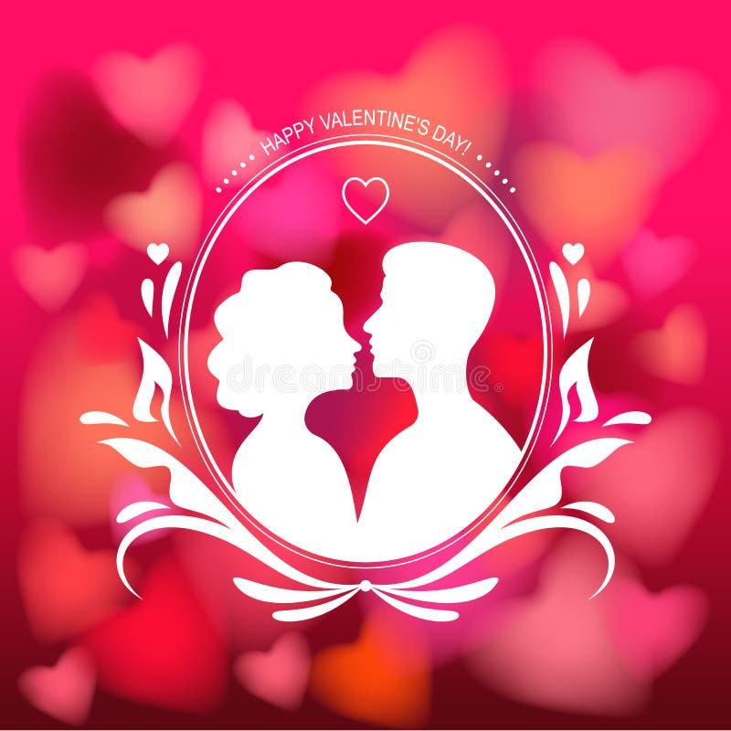 Silueta de los pares del amor aislados en fondo romántico de los corazones Ejemplo del vector para día de San Valentín, el 14 de  ilustración del vector