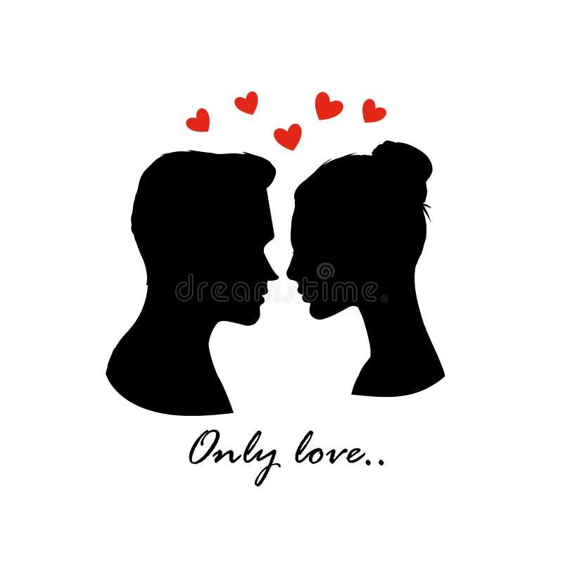 Silueta de los pares del amor con los corazones Bandera del día de tarjetas del día de San Valentín Vector stock de ilustración