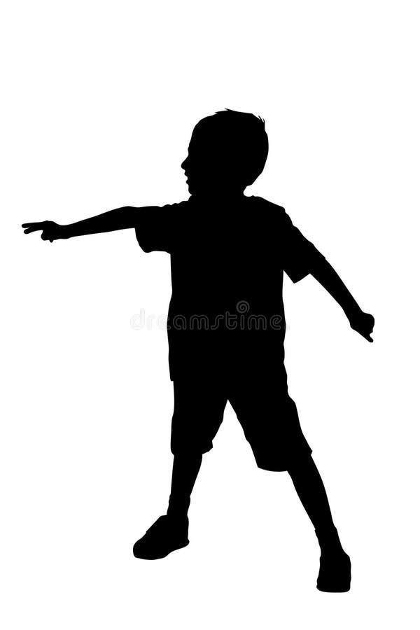 Silueta de los soportes de un muchacho stock de ilustración