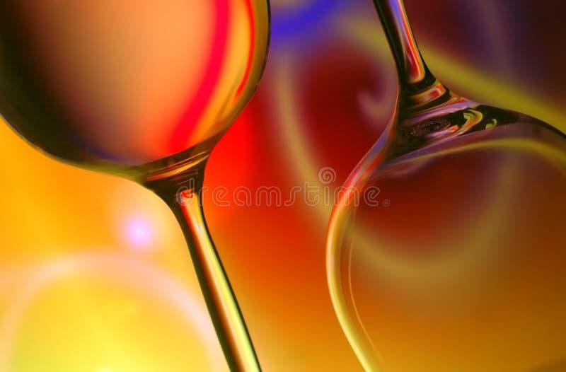 Silueta de los vidrios de vino imagen de archivo libre de regalías