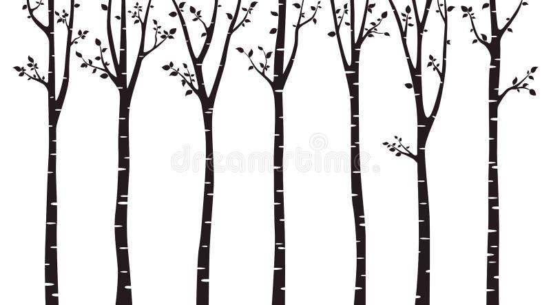 Silueta de madera del árbol de abedul en el fondo blanco stock de ilustración