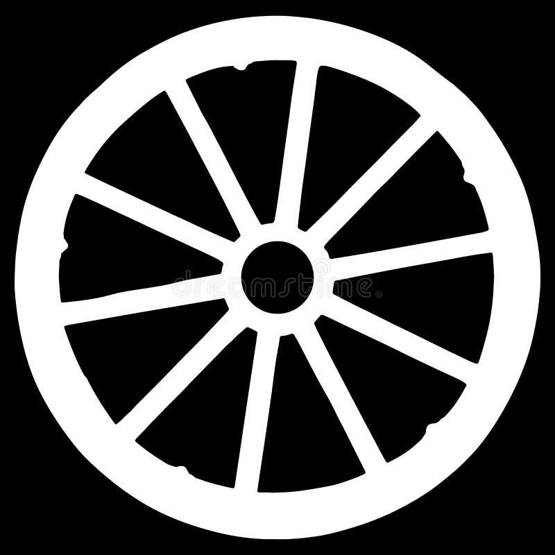 silueta de madera de la rueda de carro aislada en fondo negro ilustración del vector