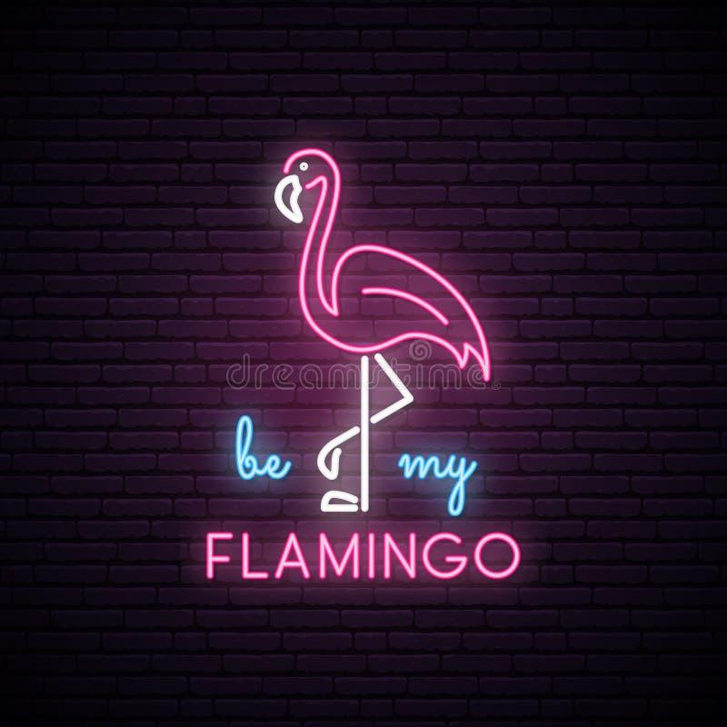 Silueta de neón del flamenco rosado con la inscripción: sea mi flamenco stock de ilustración