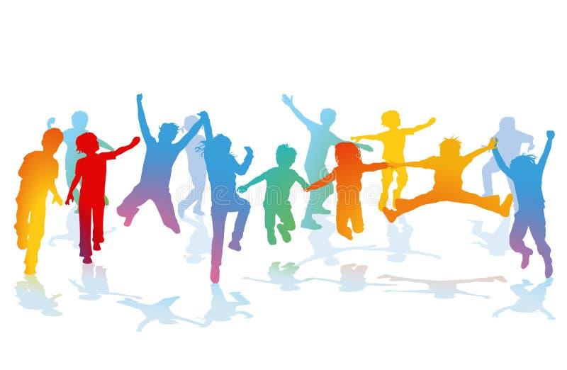 Silueta de niños de salto libre illustration