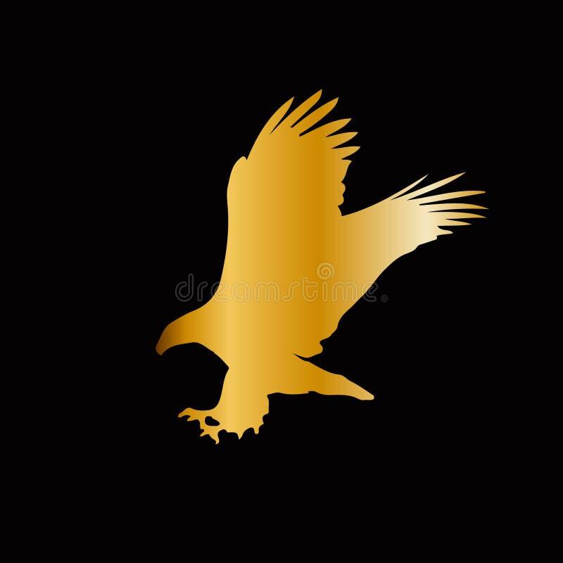 Silueta de oro del águila aislada en fondo negro ilustración del vector