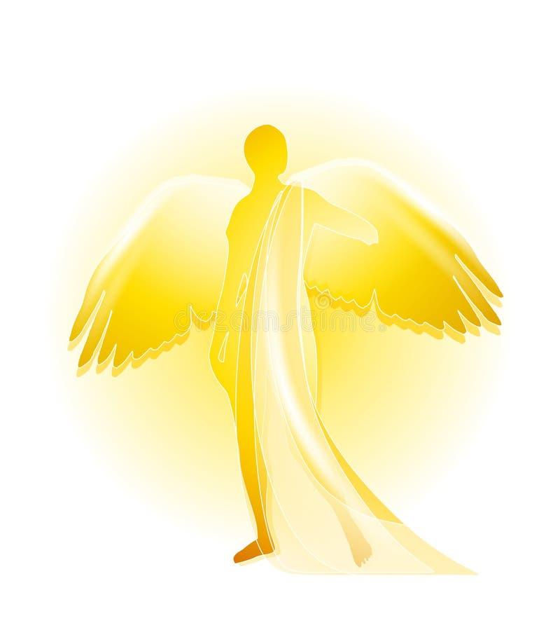 Silueta de oro del ángel stock de ilustración