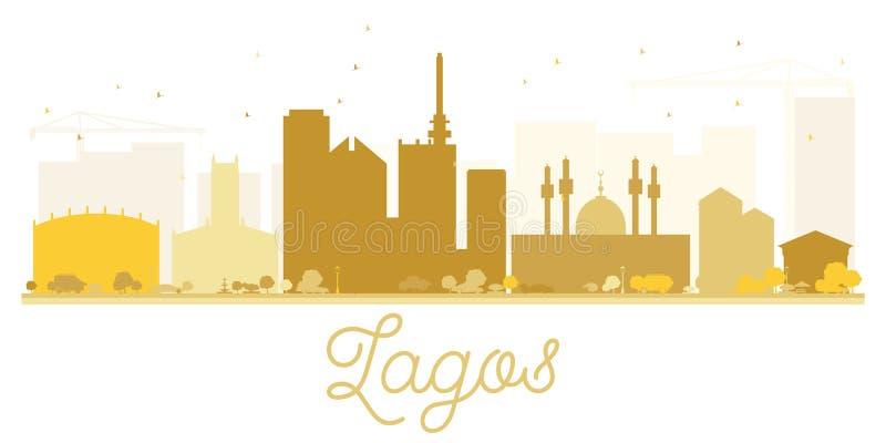 Silueta de oro del horizonte de la ciudad de Lagos stock de ilustración