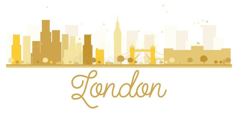 Silueta de oro del horizonte de la ciudad de Londres ilustración del vector
