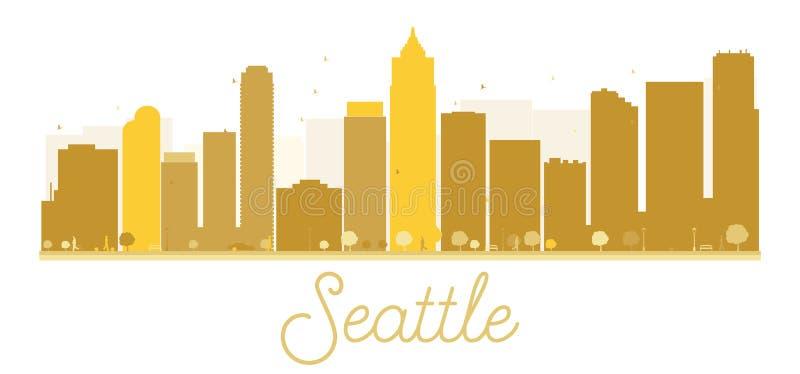 Silueta de oro del horizonte de la ciudad de Seattle libre illustration