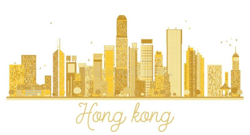 Silueta de oro del horizonte de Hong Kong China City stock de ilustración