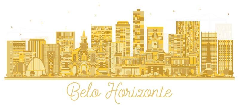Silueta de oro del horizonte de la ciudad de Belo Horizonte el Brasil stock de ilustración