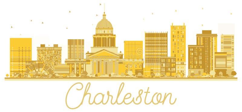 Silueta de oro del horizonte de la ciudad de Charleston West Virginia los E.E.U.U. ilustración del vector