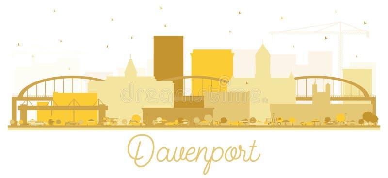 Silueta de oro del horizonte de la ciudad de Davenport stock de ilustración