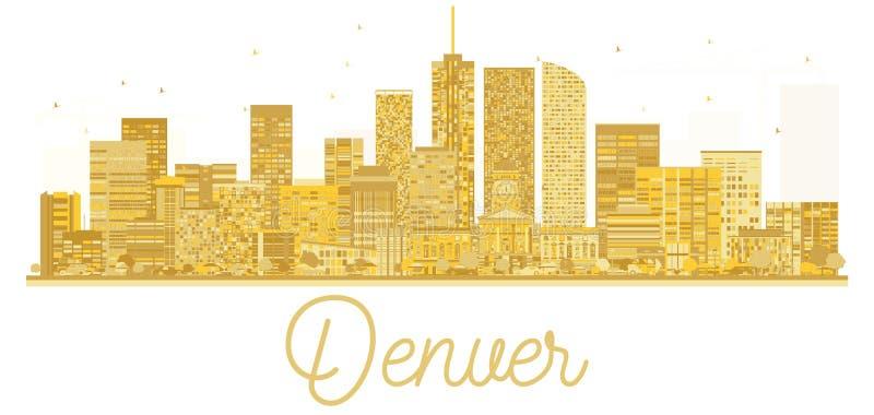 Silueta de oro del horizonte de la ciudad de Denver los E.E.U.U. stock de ilustración