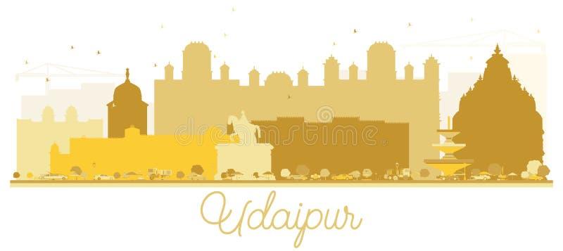 Silueta de oro del horizonte de la ciudad de Udaipur la India ilustración del vector