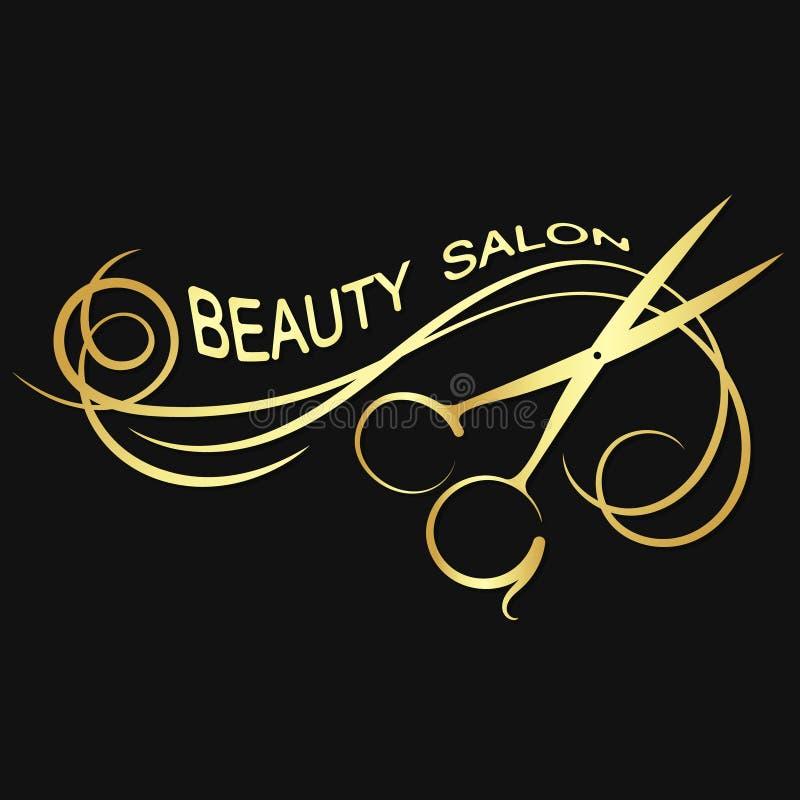 Silueta de oro del salón de belleza stock de ilustración