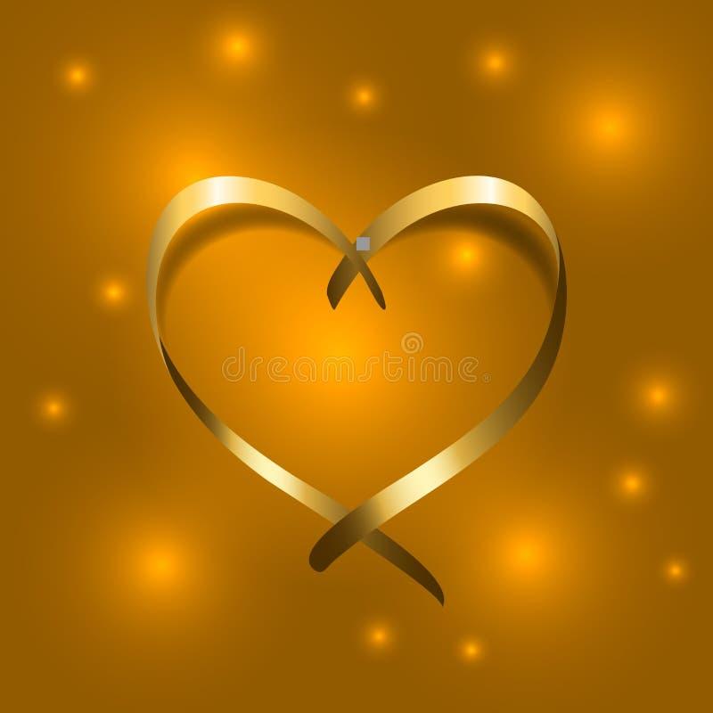 Silueta de oro del satén del corazón de seda de la cinta del oro stock de ilustración