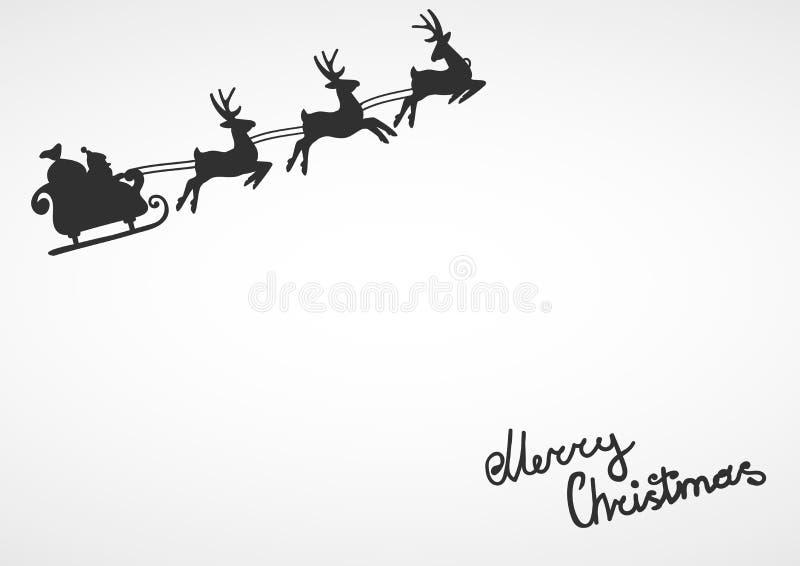 Silueta de Papá Noel en un vuelo del trineo con los ciervos y los regalos que lanzan en un blanco stock de ilustración