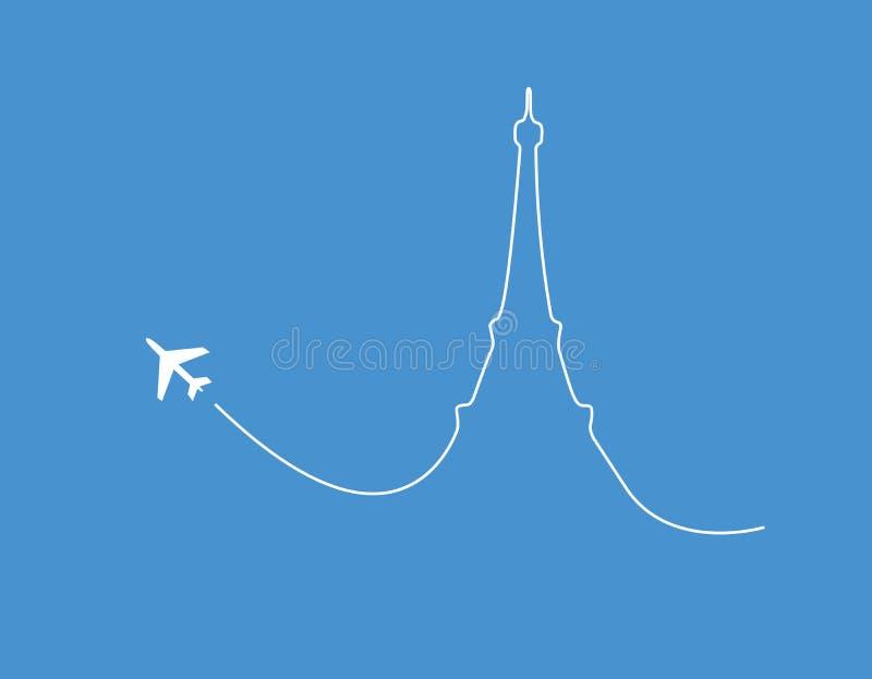 Silueta de París del aeroplano ilustración del vector