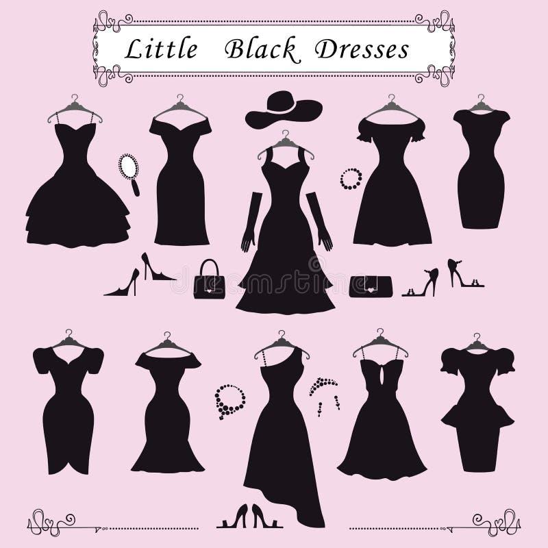 Silueta De Pequeños Vestidos De Fiesta Negros Moda Ilustración del ...