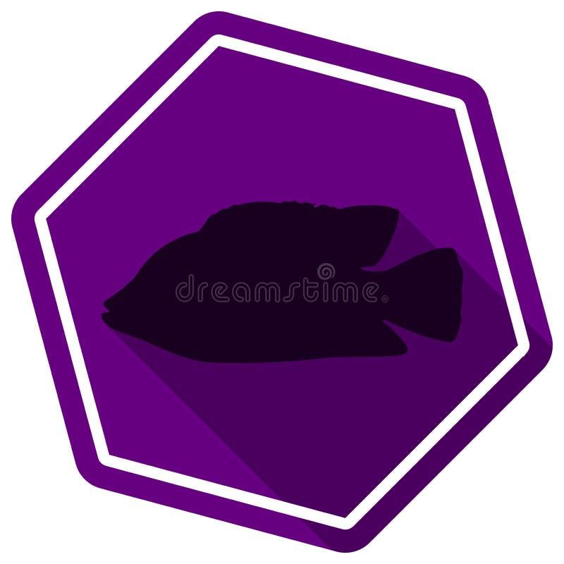 Silueta de pescados Engrana el icono Estilo plano ilustración del vector