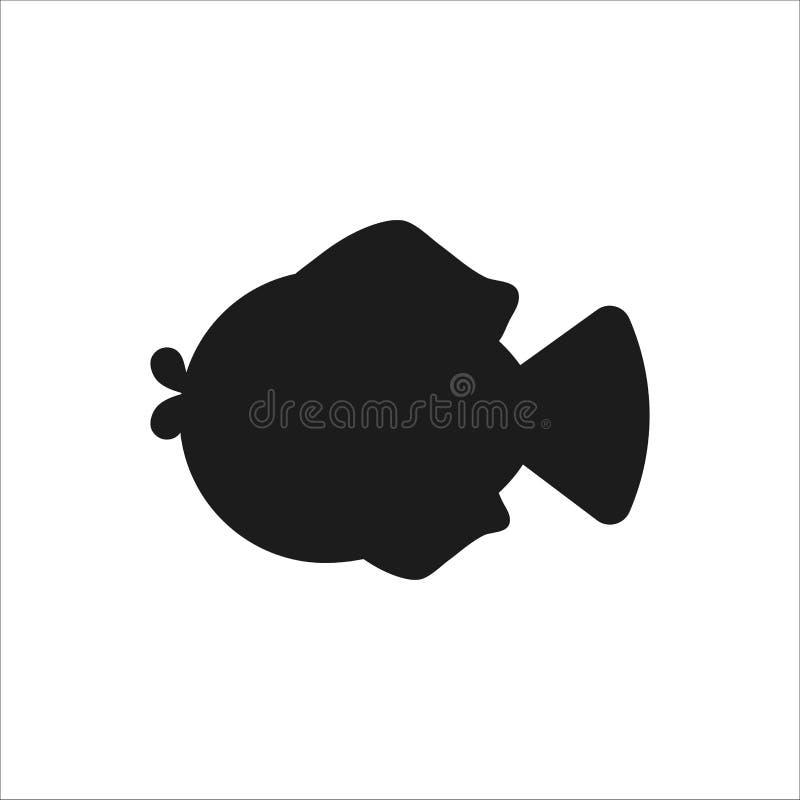 Silueta de pescados Icono plano del estilo libre illustration