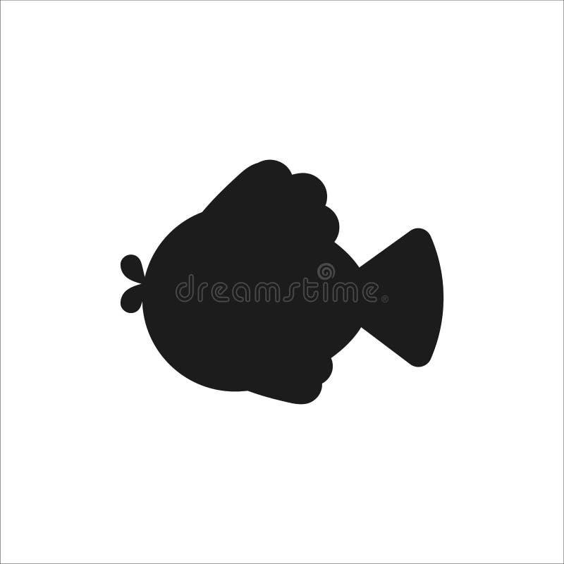 Silueta de pescados Icono plano del estilo para el logotipo libre illustration