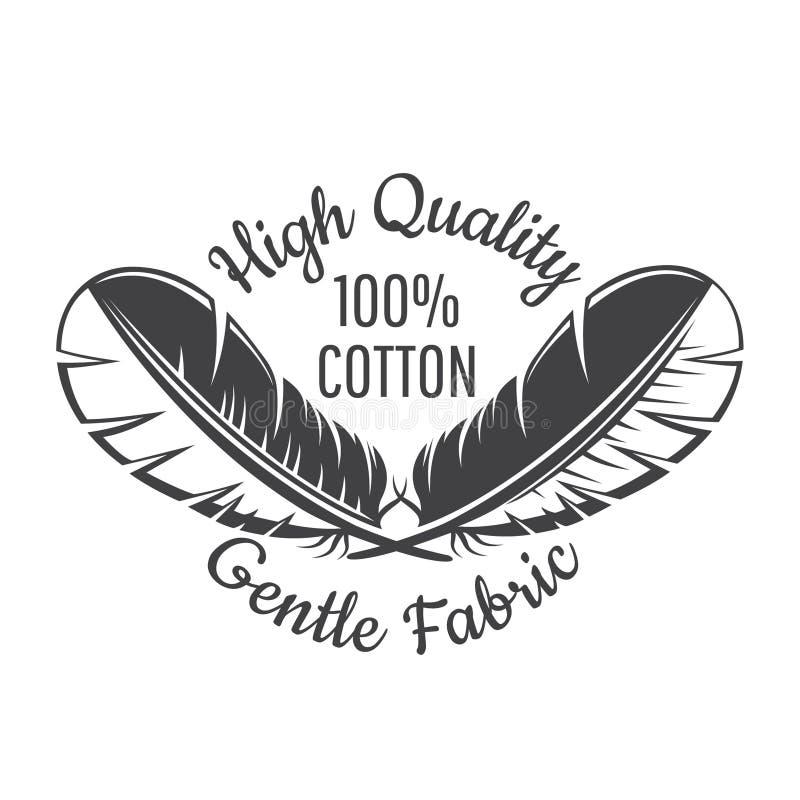 Silueta de plumas cruzadas Logotipo para la materia textil sensible, tela, paño stock de ilustración