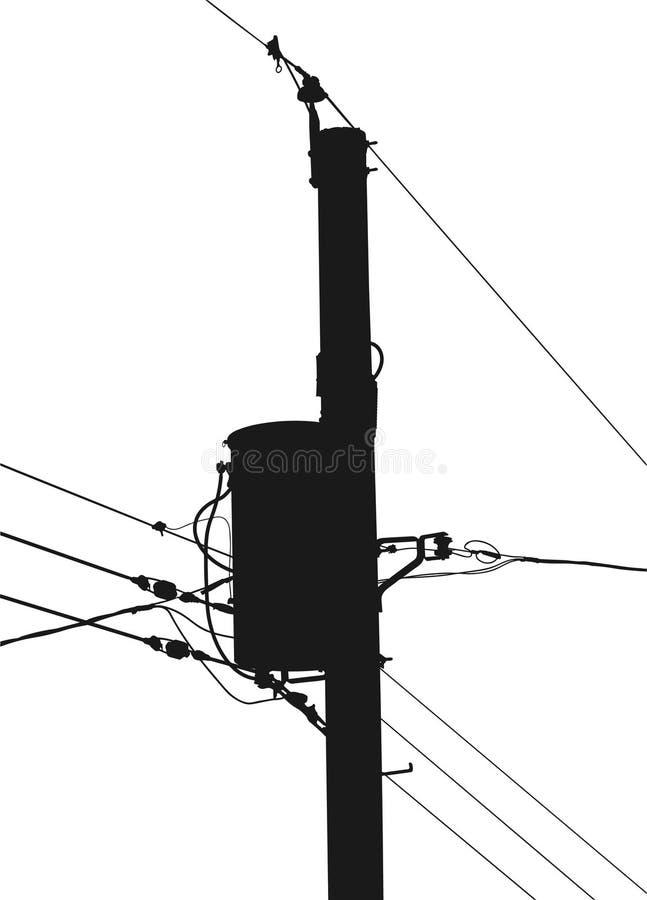Silueta de poste de potencia ilustración del vector