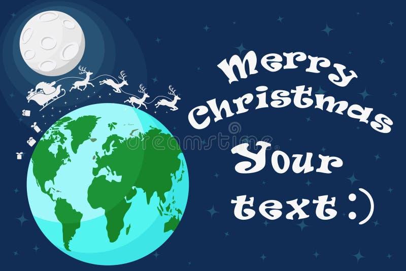Silueta de Santa Claus con el vuelo del reno alrededor del globo Tarjeta de Navidad stock de ilustración