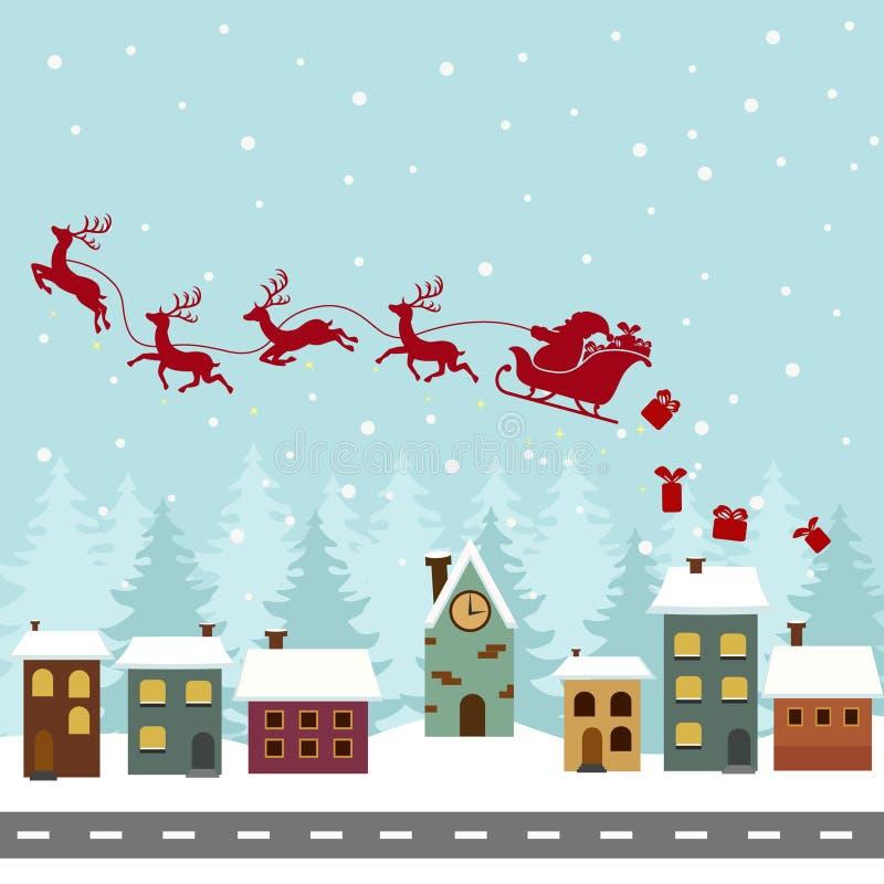 Silueta de Santa Claus en trineo con el vuelo del reno sobre casas ilustración del vector