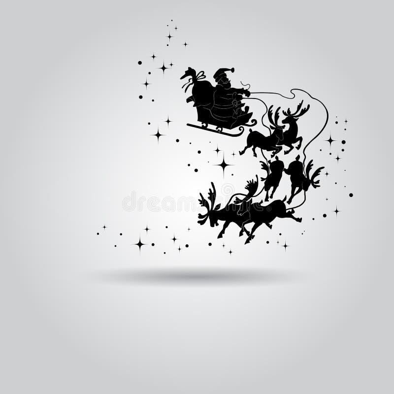 Silueta de Santa Claus en un trineo con el vuelo de los ciervos en SK libre illustration