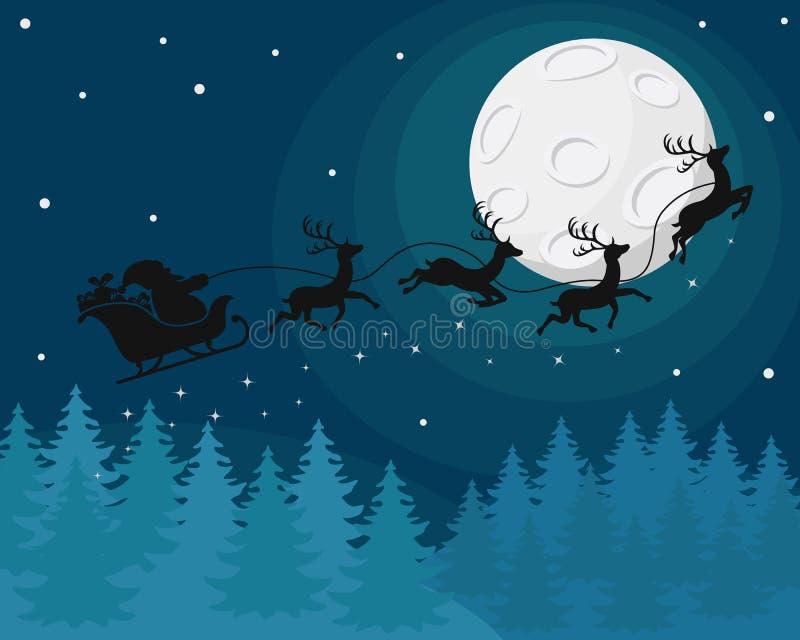 Silueta de Santa Claus en un trineo con los ciervos en el vuelo de la noche cerca de la luna sobre bosque del invierno stock de ilustración
