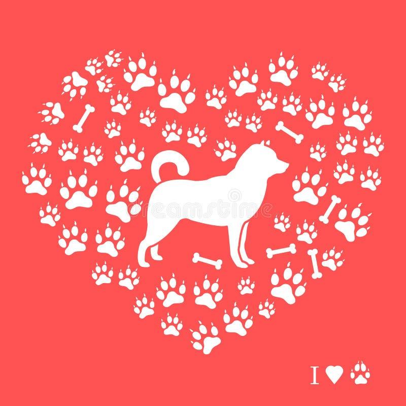 Silueta de Shiba Inu en un fondo de las pistas del perro y de los huesos bajo la forma de corazón Elemento del diseño para la pos ilustración del vector