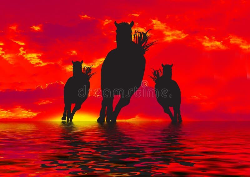 Silueta de tres caballos   ilustración del vector