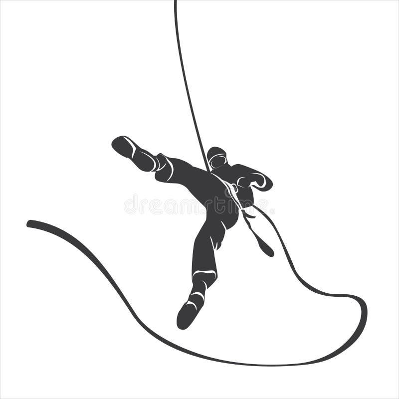 Silueta de un abseil del escalador fotografía de archivo