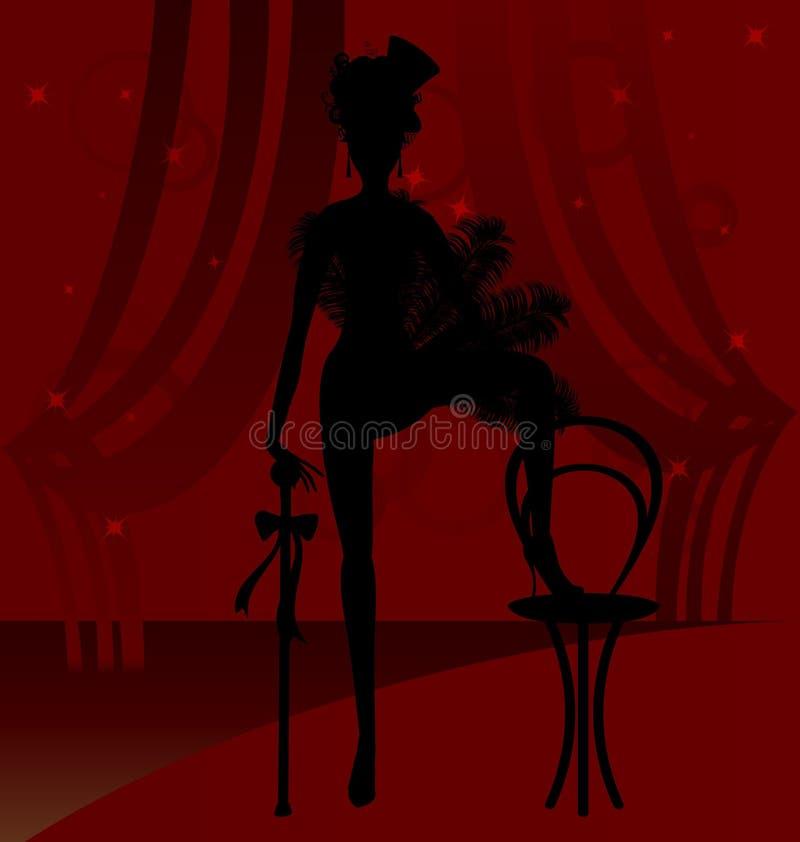 Silueta de un bailarín del cabaret stock de ilustración