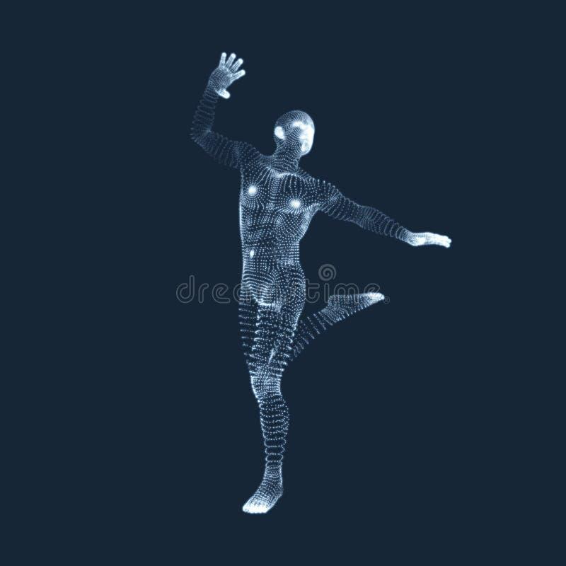 Silueta de un bailar?n Un bailar?n realiza elementos acrob?ticos modelo 3D del hombre S?mbolo del deporte Elemento del dise?o Ilu ilustración del vector