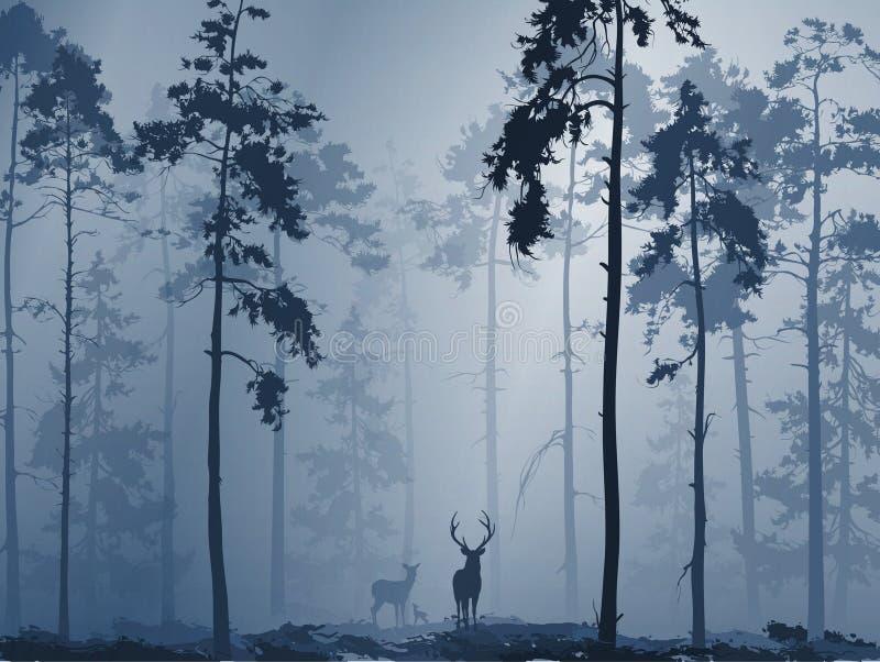 Silueta de un bosque con una familia de ciervos stock de ilustración