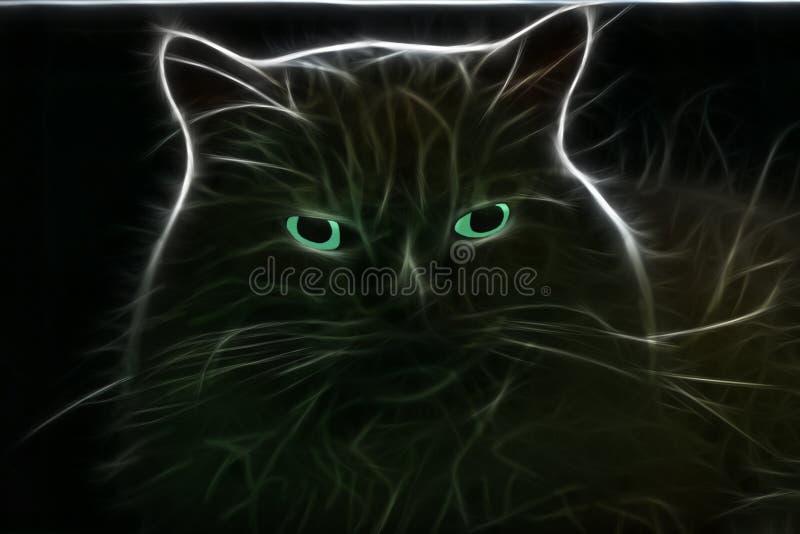 Silueta de un bozal del ` s del gato que brilla intensamente con los ojos azules foto de archivo