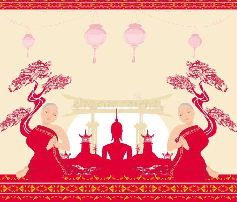 Silueta de un Buda, de un paisaje asiático y de monjes de rogación libre illustration