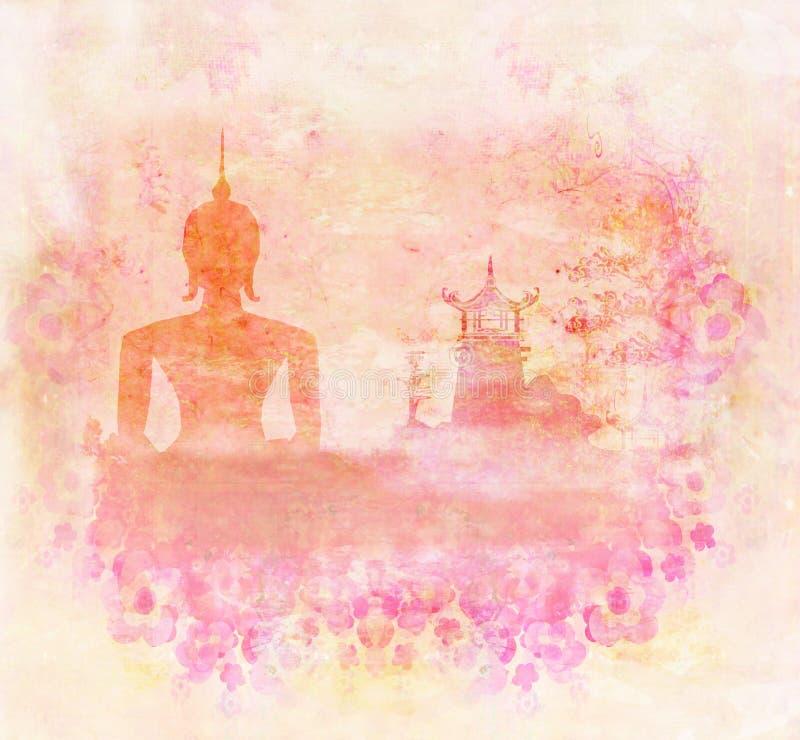Silueta de un Buda, paisaje asiático en textura del grunge stock de ilustración