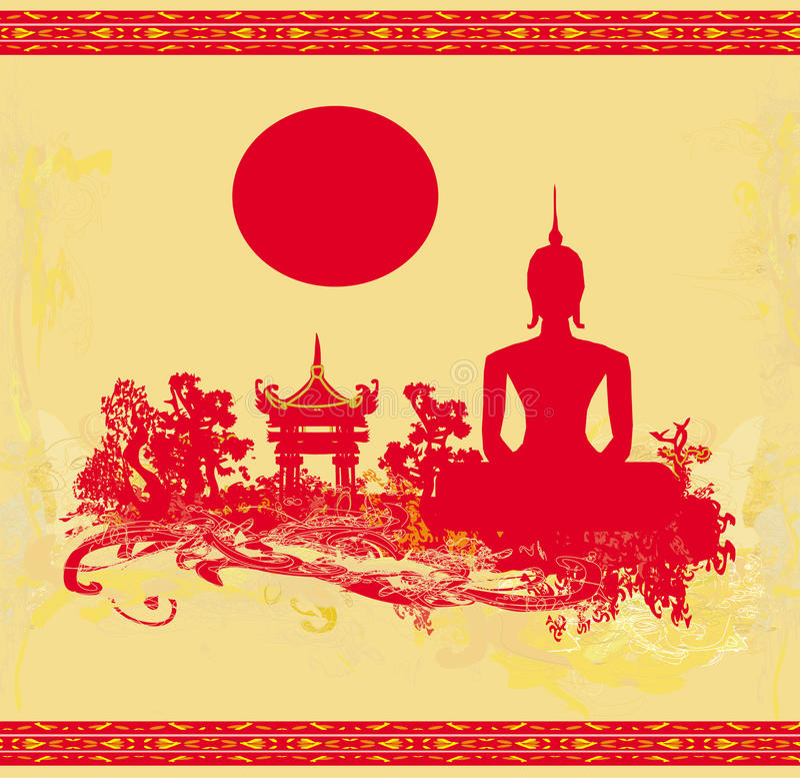 Silueta de un Buda, paisaje asiático en textura del grunge ilustración del vector