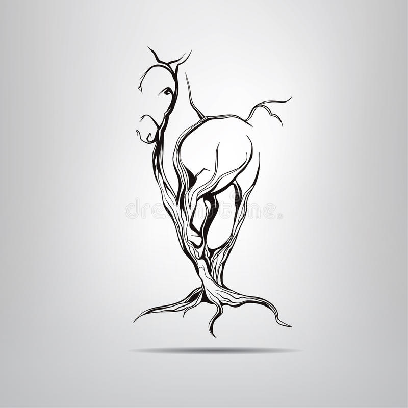 Silueta de un caballo corriente en un árbol imagen de archivo