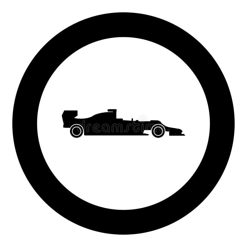 Silueta de un color del negro del icono del coche de competición en círculo ilustración del vector