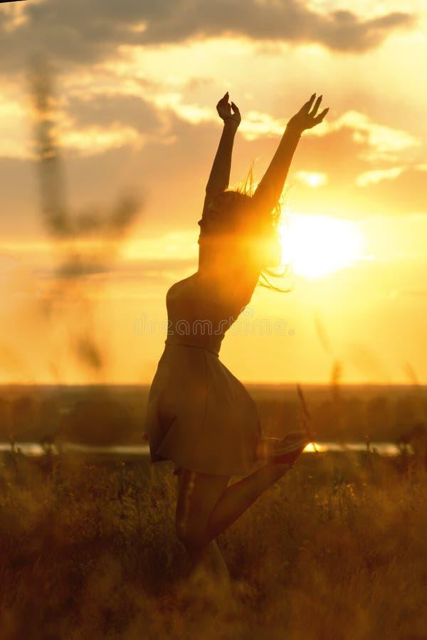 5 543 Silueta De La Chica Joven Feliz En Campo Fotos Libres De Derechos Y Gratuitas De Dreamstime