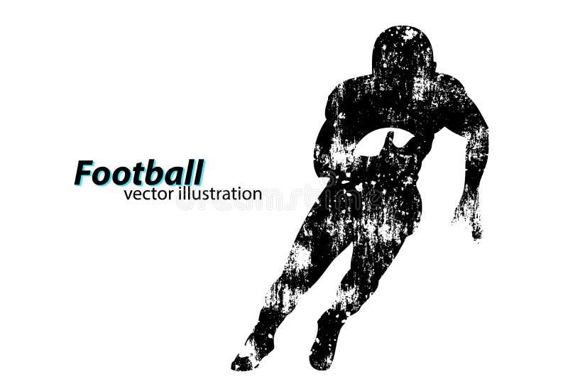 Silueta de un futbolista rugbi Futbolista americano stock de ilustración