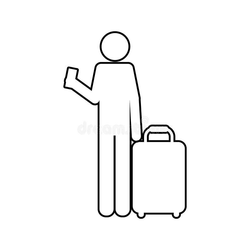 silueta de un hombre con un icono del boleto y del equipaje Elemento de la seguridad cibernética para el concepto y el icono móvi stock de ilustración