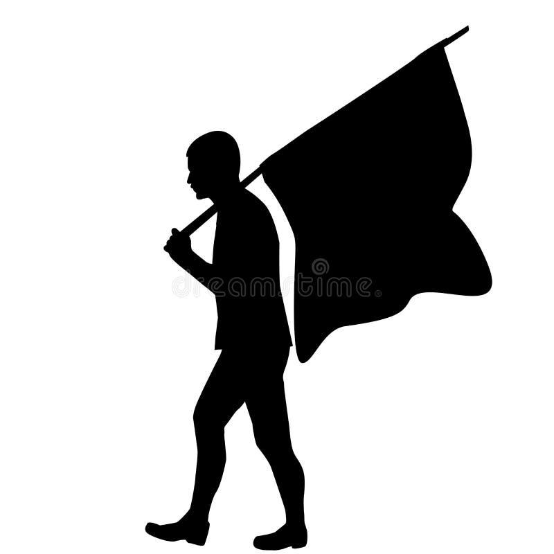 Silueta de un hombre con la bandera ilustración del vector
