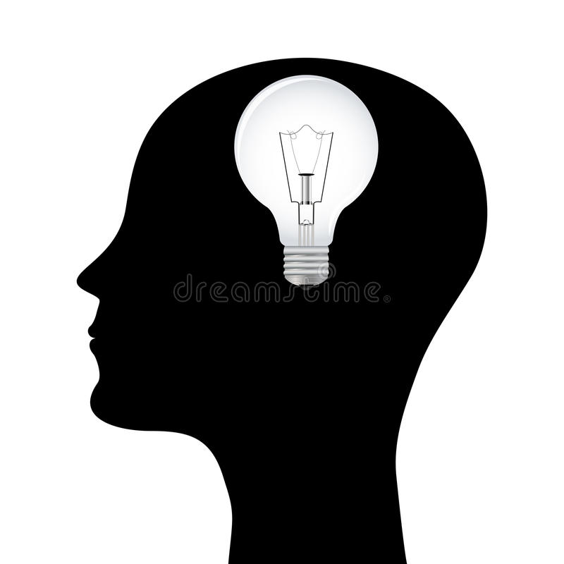 Silueta de un hombre con una lámpara principal stock de ilustración